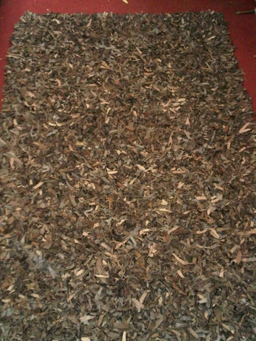 Brown Cotton Leather Shag Area Rug Made in India - Intl. Rug Depot