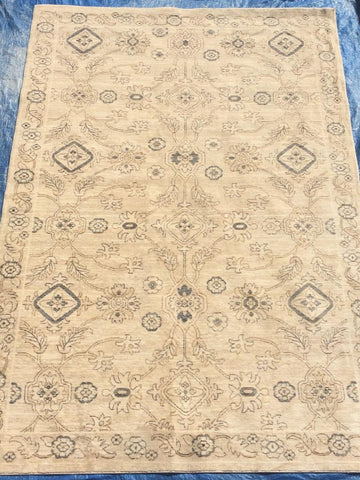 Beige Polyester Art Silk Area Rug Made in Turkey