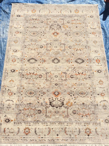 Cream Art Silk Area Rug Made in Turkey