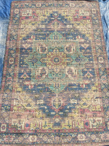 Blue Cotton Jute Area Rug Made in India - Intl. Rug Depot