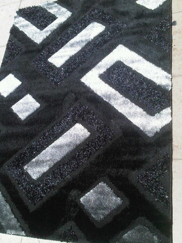 Black and Gray Shag Polyester Area Rug Made in Turkey