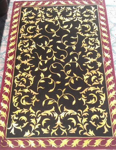 Black Viscose Wool Cotton Backing Area Rug Made in India