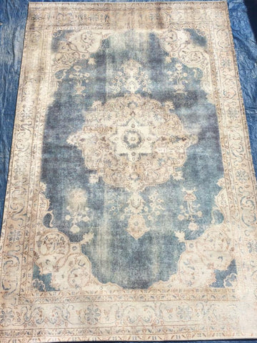 Blue Cream Art Silk Area Rug Made in India