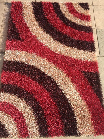Burgundy Fusia Polyester Shag Area Rug Made in India - Intl. Rug Depot