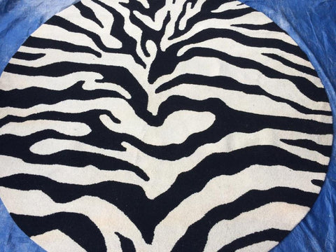 Black Off-White Zebra Cotton Backing Area Rug Made in India - Intl. Rug Depot