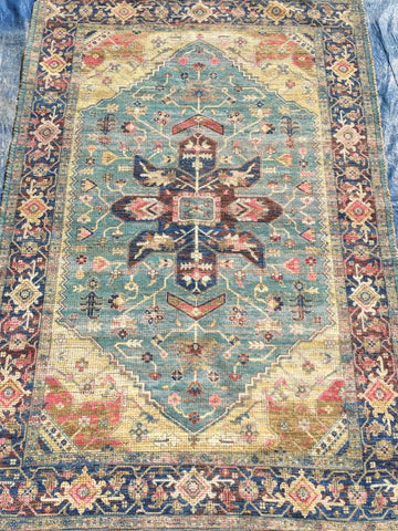 Blue Jute Cotton Area Rug Made in India - Intl. Rug Depot