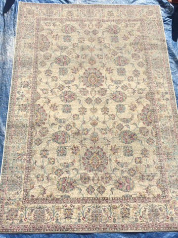 Yellow Art Silk Area Rug Made in Turkey
