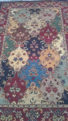 Red Wool Area Rug Made in India