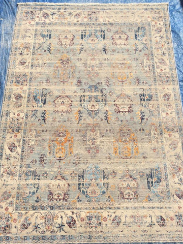 Blue Art Silk Polyester Area Rug Made in Turkey