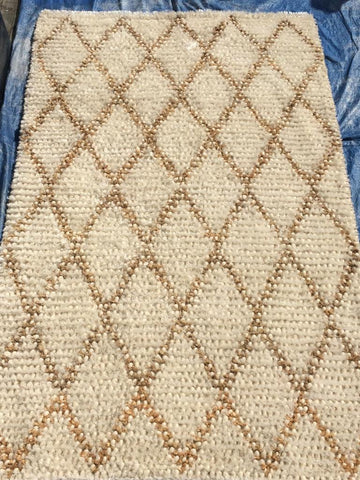 Ivory Polyester Wool Shag Area Rug Made in India - Intl. Rug Depot