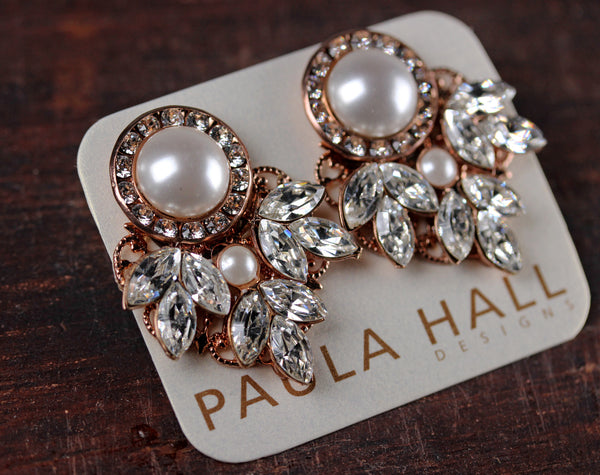 Clip-On Classic Pearl Clusters in Rose Gold