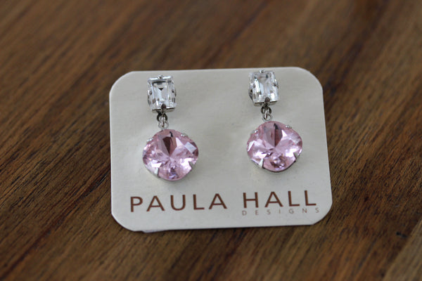 Classic Solitaire Drops in Pink and Crystal