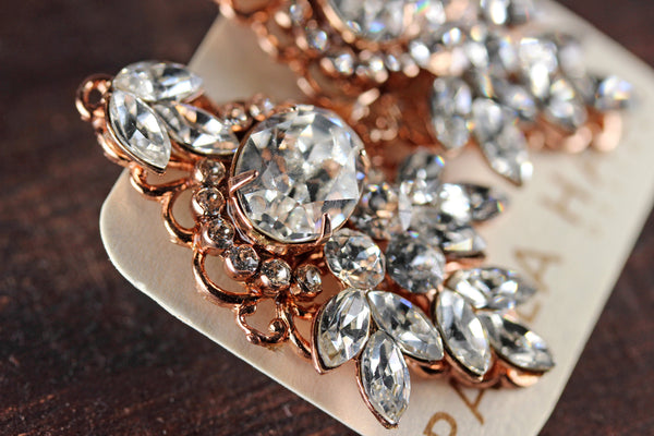 Clip-On Dawn to Dusk Studs in Rose Gold and Crystal