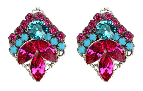 Clip-On Floral Delights in Fuschia and Aqua