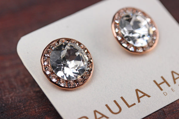 Large Signature Stud in Rose Gold and Crystal