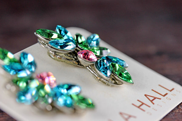 Clip-On Leaf Motif Studs in Aqua, Green and Pink