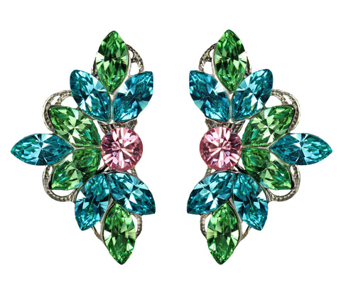 Leaf Motif Studs in Aqua, Green and Pink