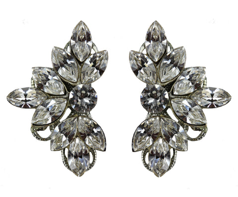 Clip-On Leaf Motif Studs in Crystal