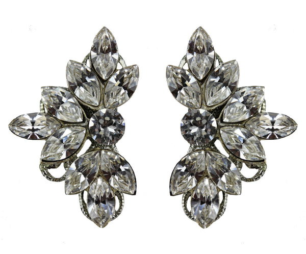 Leaf Motif Studs in Crystal