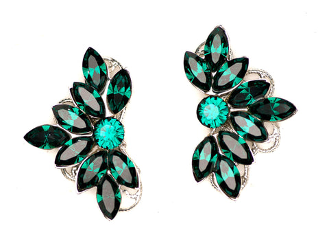 Clip-On Leaf Motif Studs in Emerald
