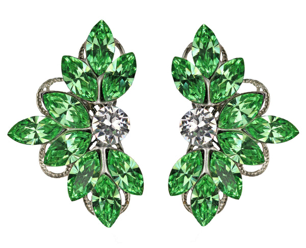 Clip-On Leaf Motif Studs in Green