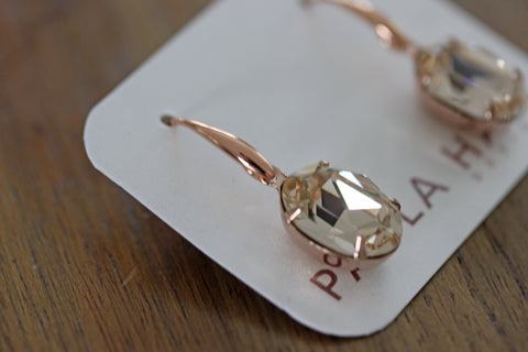 Solitaire Oval Drops in Rose Gold