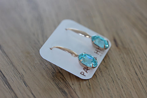 Solitaire Oval Drops in Aqua