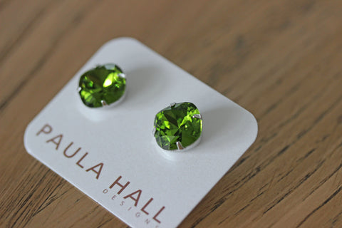 Solitaire Studs in Olive
