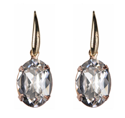Solitaire Oval Drops in Rose Gold and Crystal