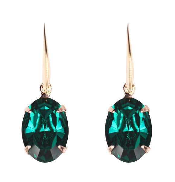 Solitaire Oval Drops in Rose Gold and Emerald