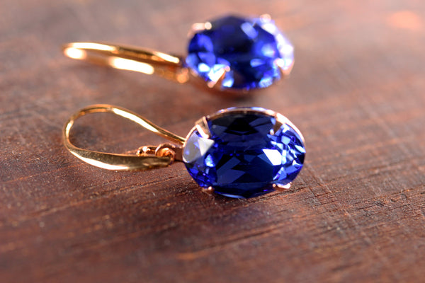 Solitaire Oval Drops in Rose Gold and Sapphire