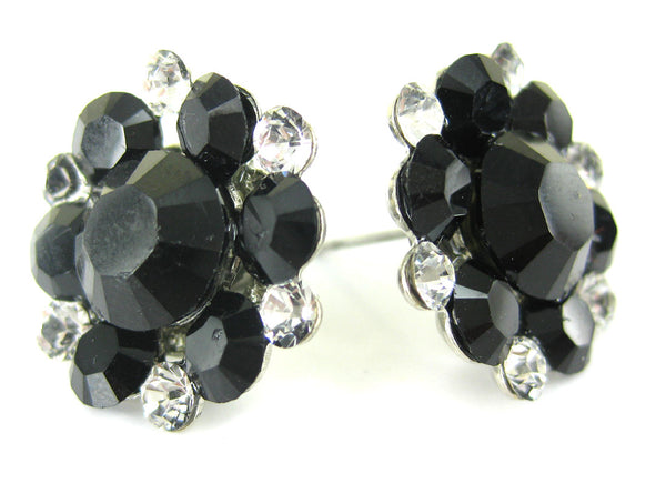 Clip-On Classic Stud Cluster in Black and Crystal