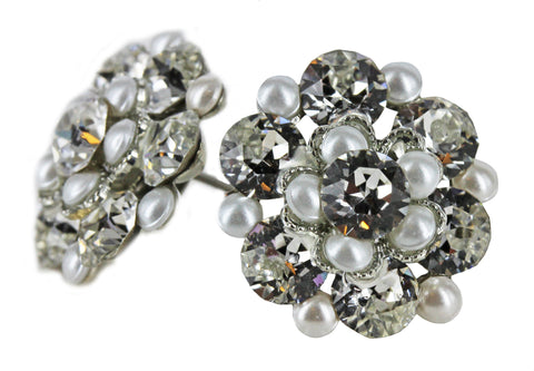 Clip-On Stud Cluster in Pearl and Crystal