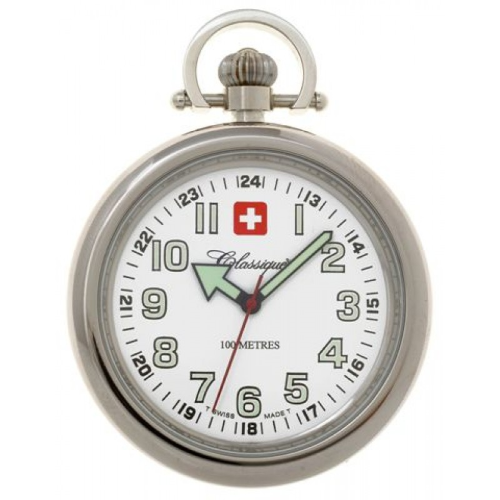 Stainless Steel Swiss Quartz Pocket Watch