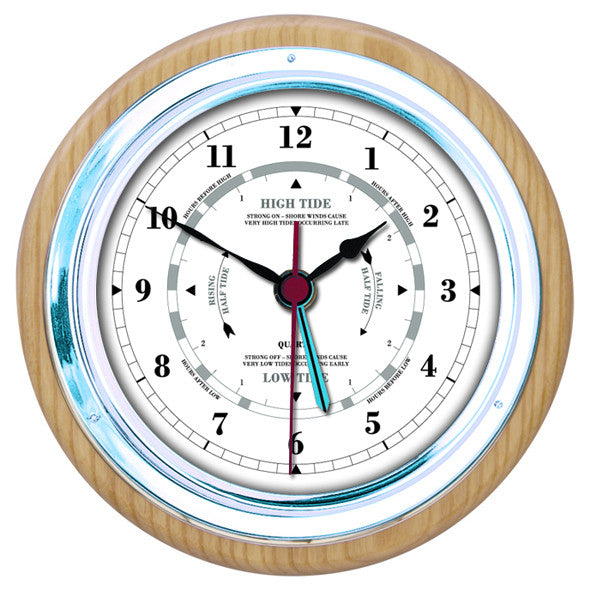 Fischer Wall Ash and Chrome tide clock 1434gu-32