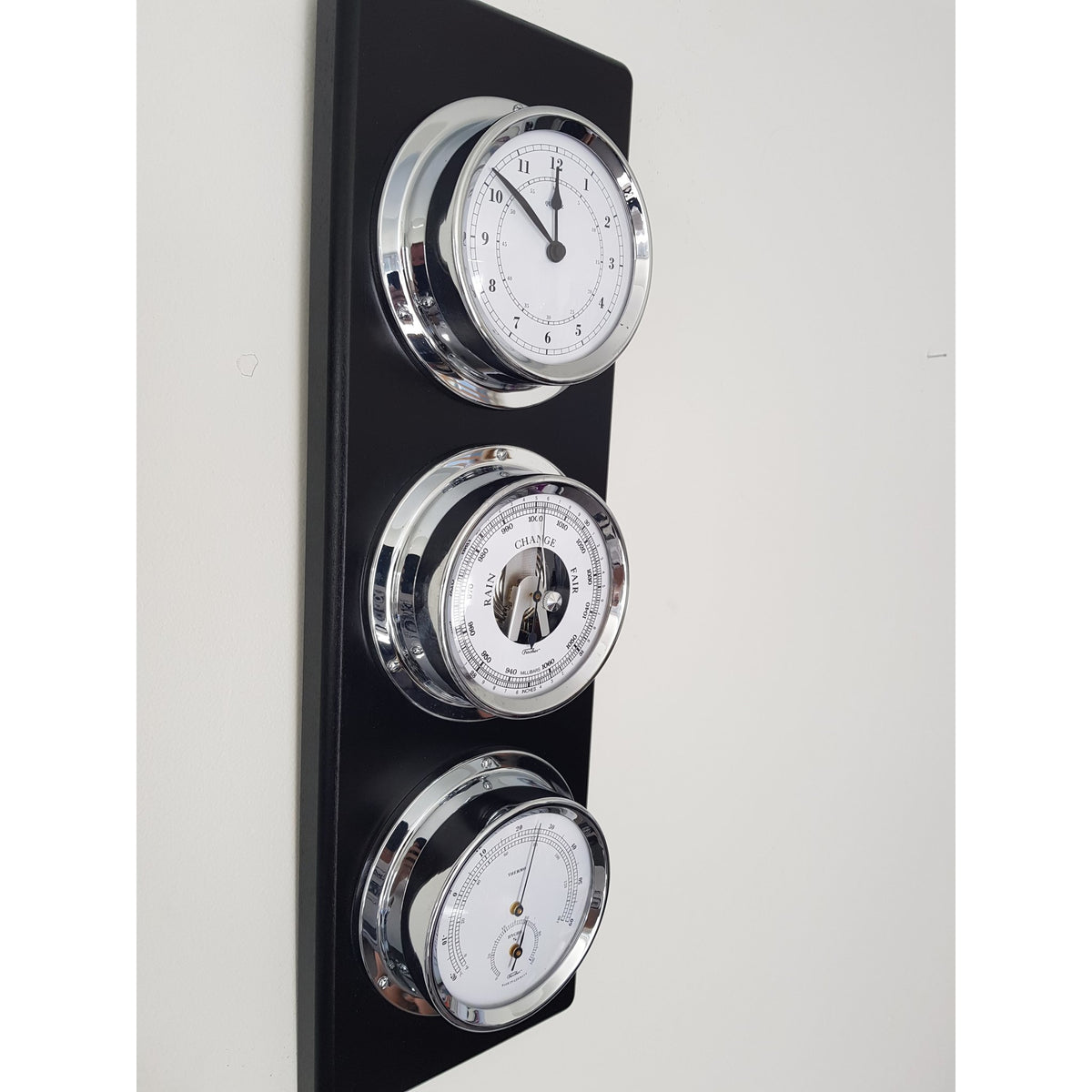 Stylish modern black & chrome Weather station