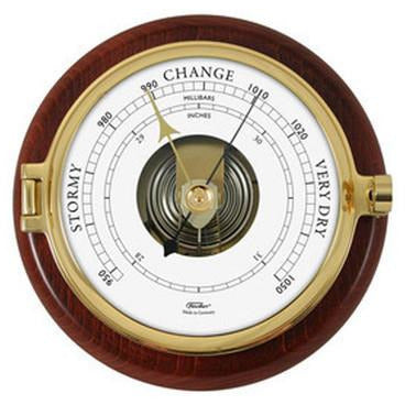 Solid Brass and Timber Barometer 1612B-22