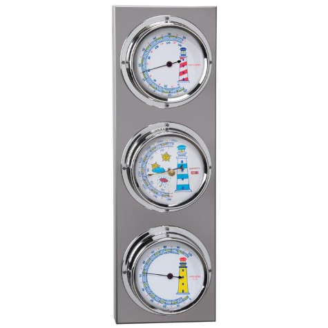Stainless Steel & chrome Barometer & Hygrometer / thermometer