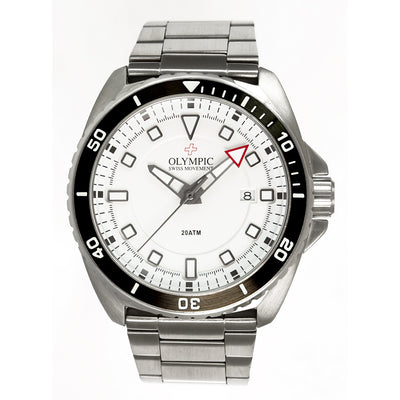 Olympic 200m Divers Watch - Black Edge White Dial Stainless Steel Strap