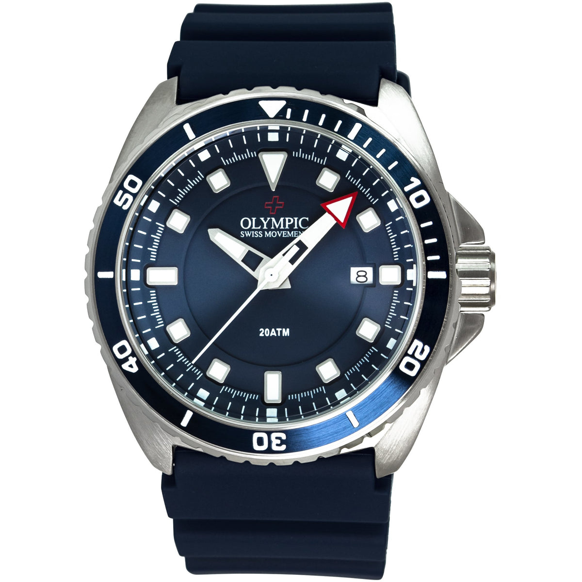 Olympic 200m Divers Steel Watch - Classic Blue - Silicon Strap