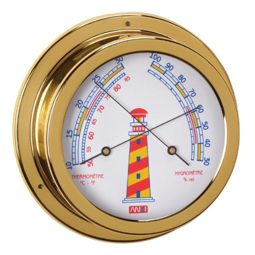 Brass Thermometer & Hygrometer