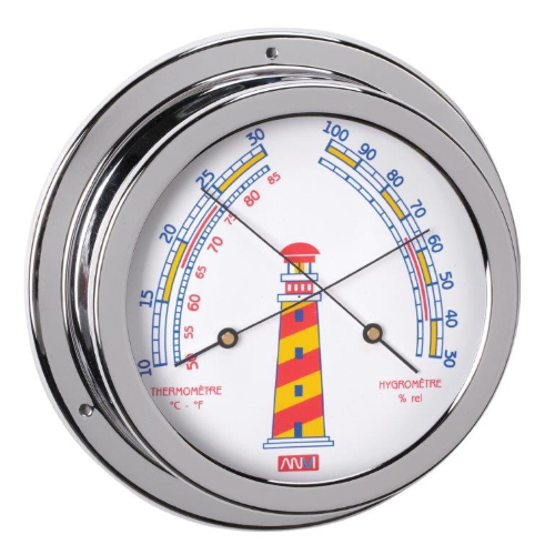 Chrome thermometer & Hygrometer