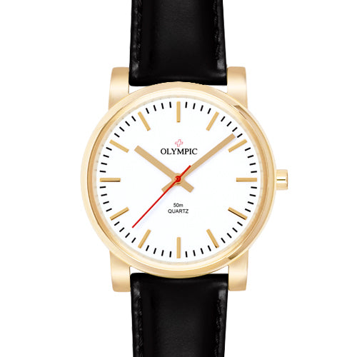 Ladies gold watch with black band from Olympic swiss watches