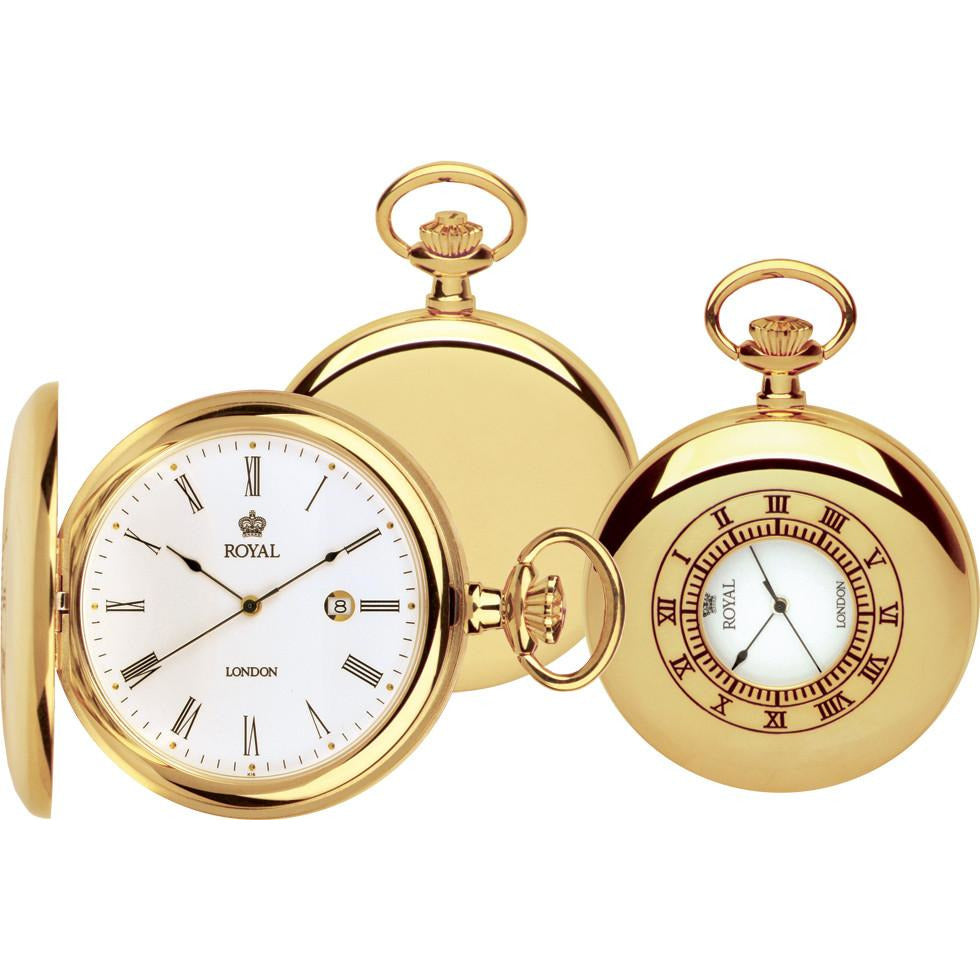 Unisex Half Hunter Gold Pocket Watch 90008.02