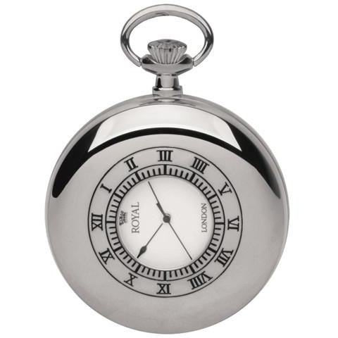 Silver Half Hunter Pocket Watch By Royal London 90008.01