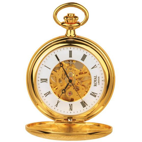 Half Hunter Gold Pocket Watch By Royal London 90009.01