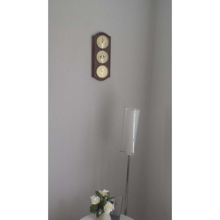 Walled Mounted Mahogany and Brass Fischer Weatherstation 9176-22