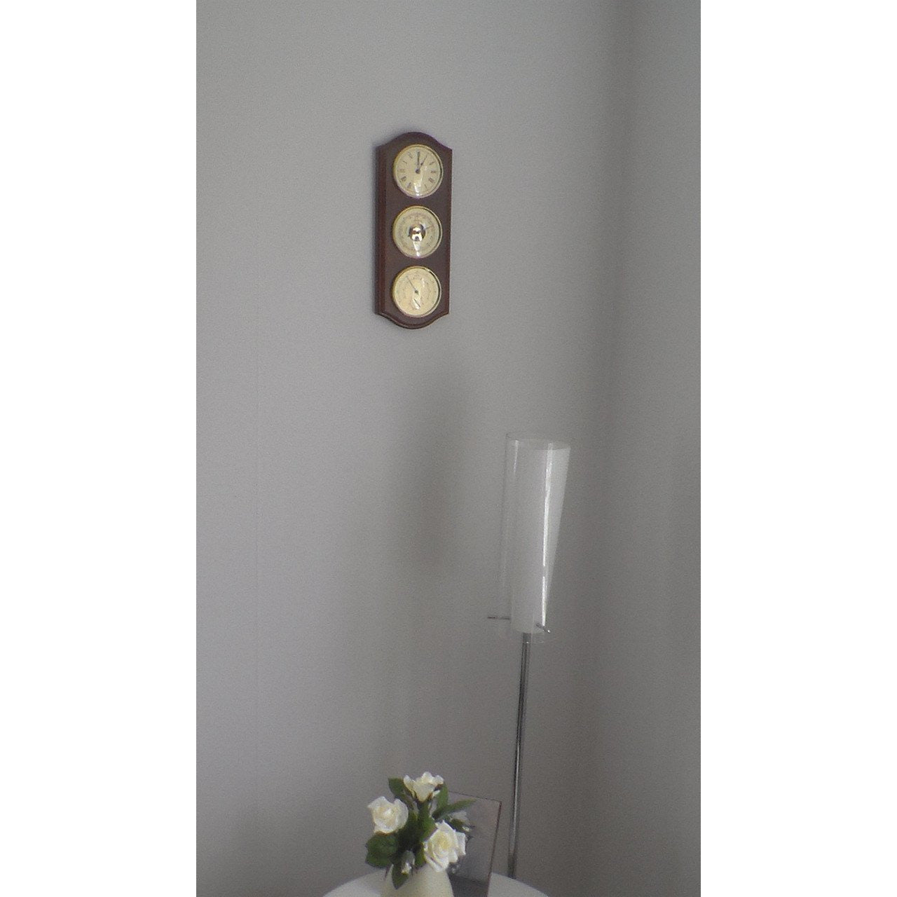 Wall Mounted Mahogany and Brass Weatherstation with Clock 9176U-22