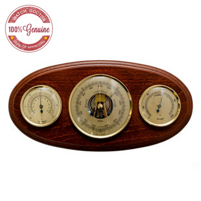 Fischer Mahogany and Brass Oval Weatherstation 9160-22