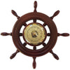 Ships Wheel Mahogany and Brass Barometer 1727-22